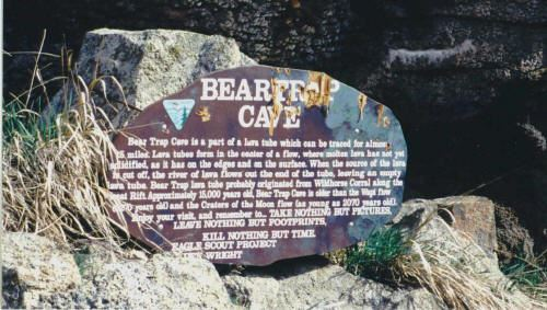 Beartrap Cave Sign